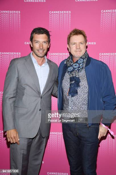 Franck Semonin and Xavier Deluc attend the Opening Ceremony and Versailles Season 3 screening during the 1st Cannes International Series Festival at...