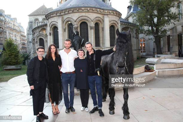 "Franck Sorbier, Jeade Pasquier, Alexandre Risso, Isabelle Sorbier, Amaury Voslion and the horse Minos attend the ""Il Medico Della Peste"" Franck..."