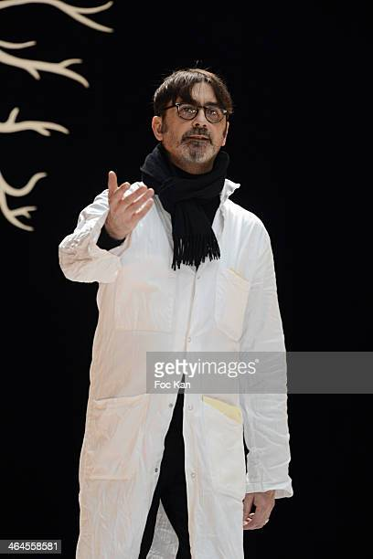 Franck Sorbier walks the runway during the finale of Franck Sorbier show as part of Paris Fashion Week Haute Couture Spring/Summer at the Caserne De...