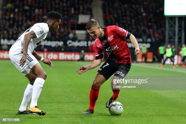 Franck Tabanou of Guingamp and Bongani Zungu of Amiens during the Ligue 1 match between EA Guingamp and Amiens SC at Stade du Roudourou on October 28...