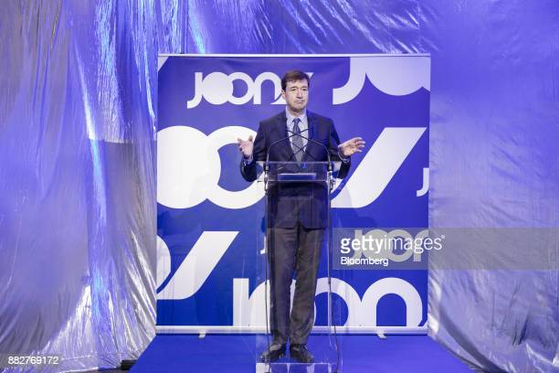 Franck Terner chief executive officer of the Air France division of Air FranceKLM Group gestures while speaking as Europe's biggest airline launches...