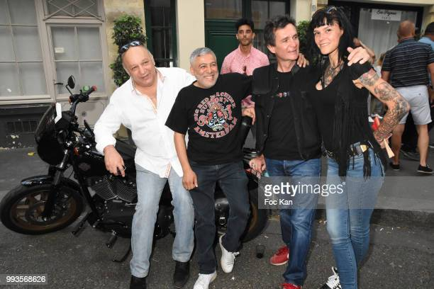 Franck Tiozzo Jaid Seddak Richard Aujard and Lza Stayaert attend Jamais A Terre Jo Prestia Book Signing At Art Cube Galerie on July 7 2018 in Paris...