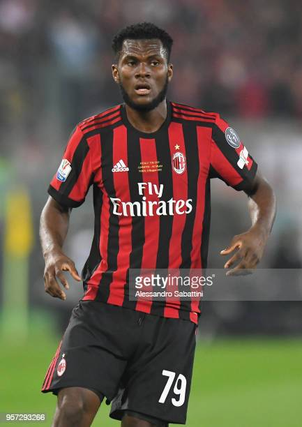 Franck Yannick Kessie of AC Milan looks on during the TIM Cup Final between Juventus and AC Milan at Stadio Olimpico on May 9 2018 in Rome Italy