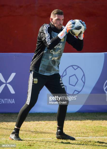 Franco Armani goalkeeper of Argentina makes a save during a training session open to the public as part of the team preparation for FIFA World Cup...