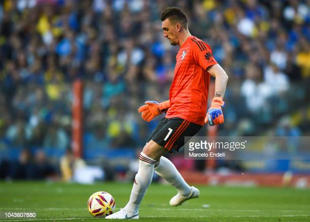 Franco Armani goalkeeper of River Plate kicks the ball during a match between Boca Juniors and River Plate as part of Superliga 2018/19 at Estadio...