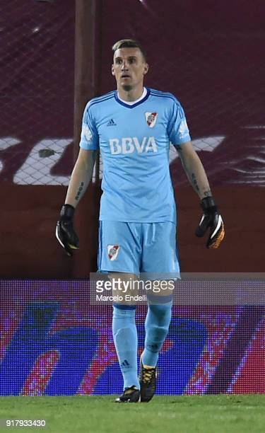 Franco Armani goalkeeper of River Plate looks on during a match between Lanus and River Plate as part of the Superliga 2017/18 at Ciudad de Lanus...