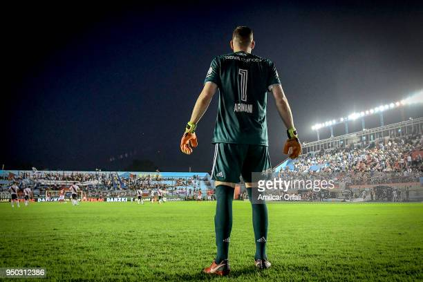 Franco Armani goalkeeper of River Plate looks on during a match between Arsenal and River Plate as part of Argentina Superliga 2017/18 at Julio...