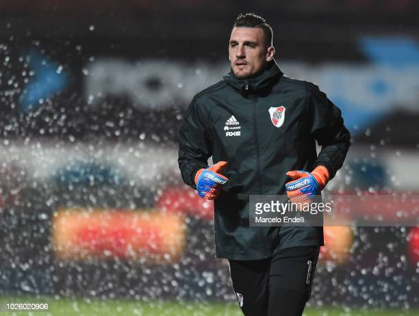 Franco Armani goalkeeper of River Plate warms up before a match between San Lorenzo and River Plate as part of Superliga Argentina 2018/19 at Estadio...