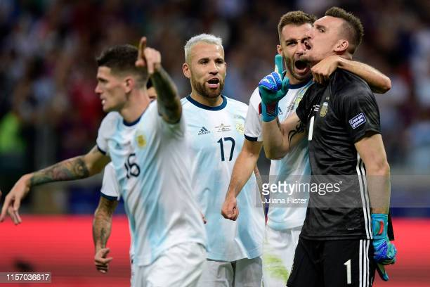 Franco Armani of Argentina celebrates after saving a penalty kick of Derlis Gonzalez of Paraguay during the Copa America Brazil 2019 group B match...