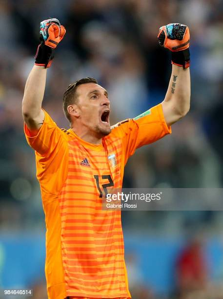 Franco Armani of Argentina celebrates victory following the 2018 FIFA World Cup Russia group D match between Nigeria and Argentina at Saint...