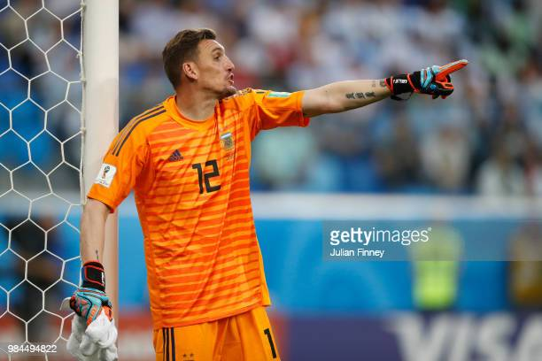 Franco Armani of Argentina gestures during the 2018 FIFA World Cup Russia group D match between Nigeria and Argentina at Saint Petersburg Stadium on...