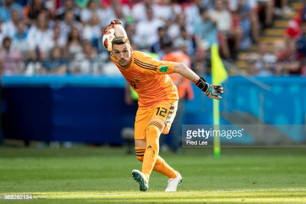 Franco Armani of Argentina in action during the Russia 2018 World Cup round of 16 football match between France and Argentina at the Kazan Arena in...