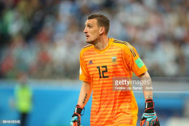 Franco Armani of Argentina looks on during the 2018 FIFA World Cup Russia group D match between Nigeria and Argentina at Saint Petersburg Stadium on...