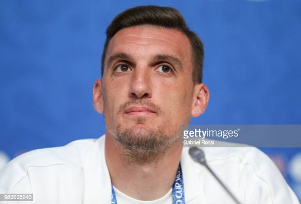 Franco Armani of Argentina looks on during the official press conference ahead of the match against Nigeria at Zenit Arena onJune 25 2018 in Saint...