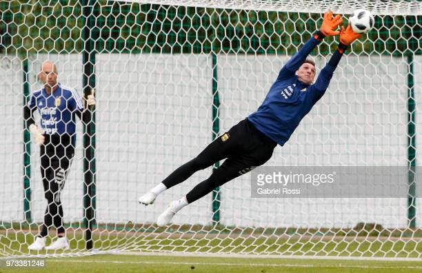 Franco Armani of Argentina makes a save during an open to public training session at Bronnitsy Training Camp on June 11 2018 in Bronnitsy Russia