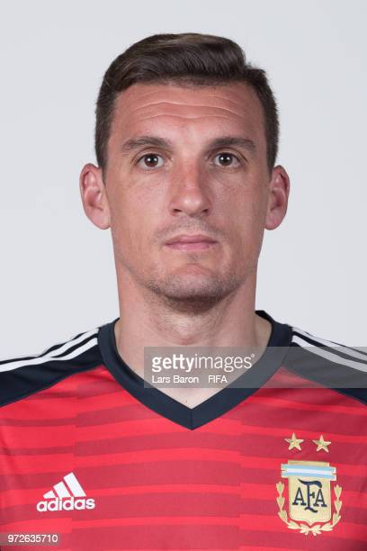 Franco Armani of Argentina poses for a portrait during the official FIFA World Cup 2018 portrait session on June 12 2018 in Moscow Russia
