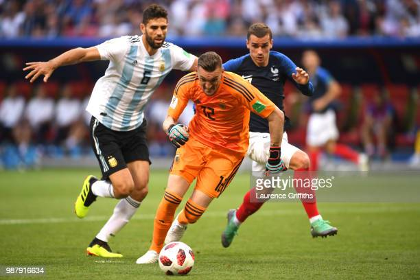 Franco Armani of Argentina runs off the ball during the 2018 FIFA World Cup Russia Round of 16 match between France and Argentina at Kazan Arena on...