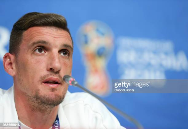 Franco Armani of Argentina speaks during the official press conference ahead of the match against Nigeria at Zenit Arena onJune 25 2018 in Saint...