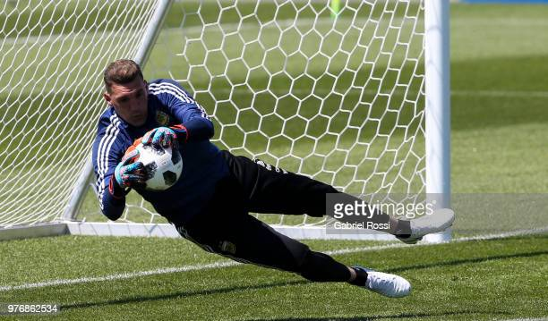 Franco Armani of Argentina warm up during a training session at the team base camp on June 17 2018 in Bronnitsy Russia