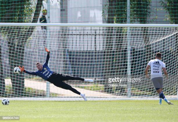 Franco Armani of Argentina warms up during a training session at Stadium of Syroyezhkin sports school on June 28 2018 in Bronnitsy Russia