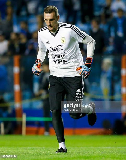 Franco Armani of Argentina warms up prior an international friendly match between Argentina and Haiti at Alberto J Armando Stadium on May 29 2018 in...