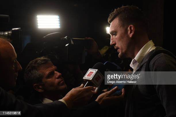 Franco Armani of River Plate arrives to Brazil May 20 2019 in Curitiba Brazil River Plate will face Atletico Paranaense as part of Recopa CONMEBOL...
