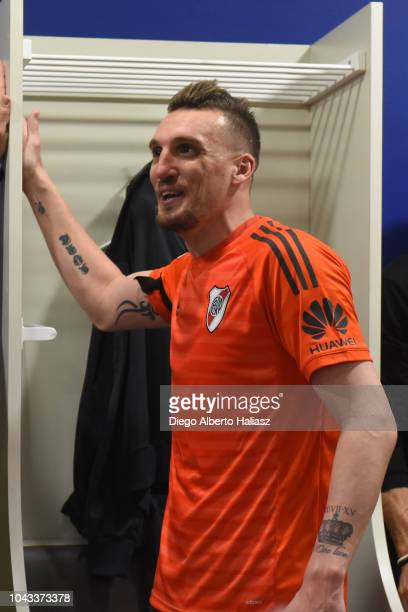 Franco Armani of River Plate celebrates in the visitor's dressing room after a match between Boca Juniors and River Plate as part of Superliga...