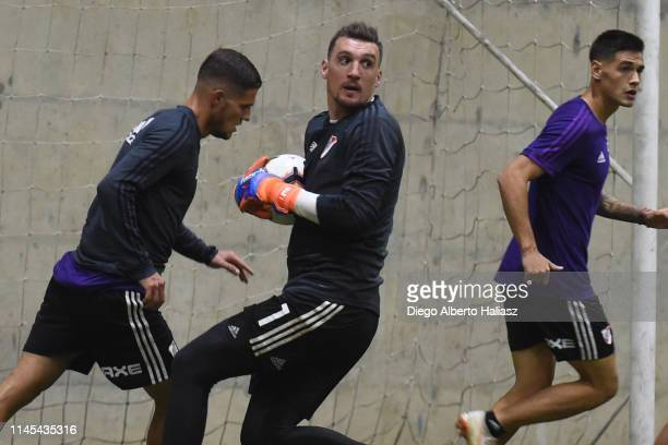 Franco Armani of River Plate during a training session at CAT Alfredo Gottardi on May 21 2019 in Curitiba Brazil River Plate will face Atletico...