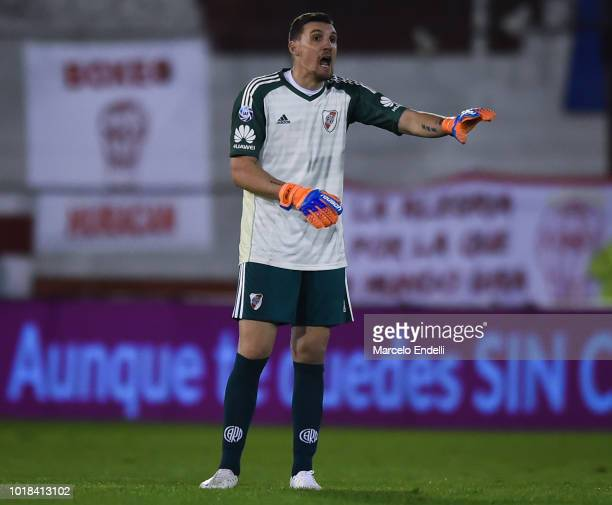 Franco Armani of River Plate gestures during a match between Huracan and River Plate as part of Superliga Argentina 2018/19 at Estadio Tomas Adolfo...