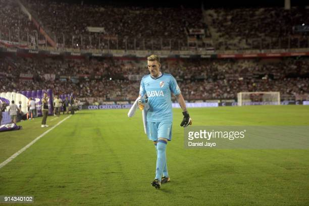 Franco Armani of River Plate leaves the field at the end of the first half during a match between River Plate and Olimpo as part of Superliga 2017/18...