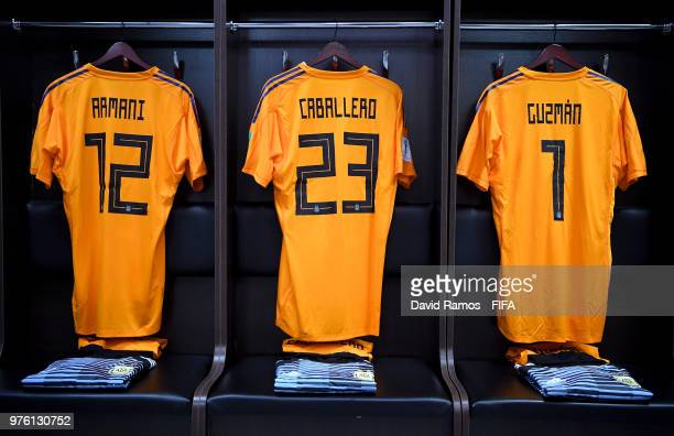 Franco Armani Wilfredo Caballero and Nahuel Guzman of Argentina's shirts are seen inside the Argentina dressing room prior to the 2018 FIFA World Cup...