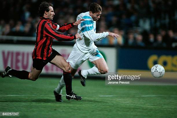 Franco Baresi and Chris Waddle during a friendly match between AC Milan and Olympique Marseille