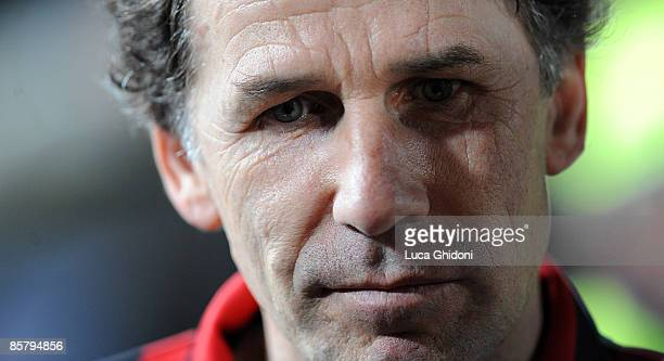Franco Baresi attends the charity football match between Milan Glorie and Brescia Glorie at the Rigamonti stadium on April 03 2009 in Brescia Italy...