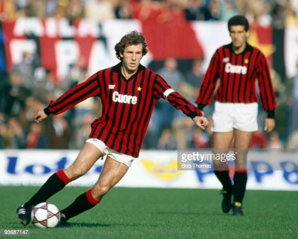 Franco Baresi of AC Milan during the AC Milan v Sampdoria Italian League match played at the San Siro Stadium in Milan on the 23rd October 1983 Milan...