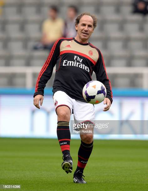 Franco Baresi of AC Milan Glorie control's the ball ahead of the Steve Harper testimonial match between Newcastle United and AC Milan Glorie at St...