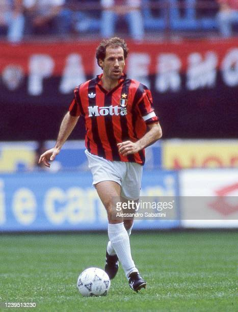 Franco Baresi of AC Milan in action during the Serie A 1992-93, Italy.