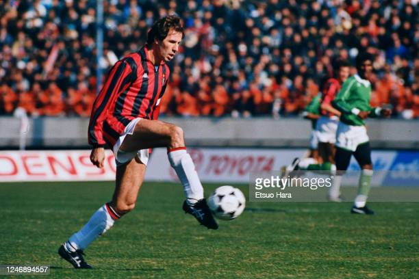Franco Baresi of AC Milan in action during the Toyota Cup match between AC Milan and Atletico Nacional at the National Stadium on December 17, 1989...