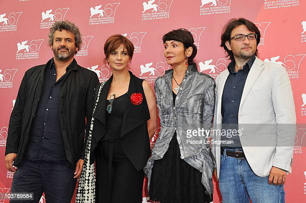 Franco Battiato actress Laura Morante director Elisabetta Sgarbi and Eugenio Lio attends the 'Se Hai Una Montagna Di Neve Tienila All'Ombra'...