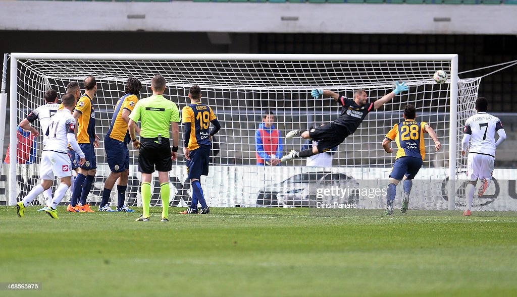 Franco Brienza of AC Cesena scores a free kick team's ...