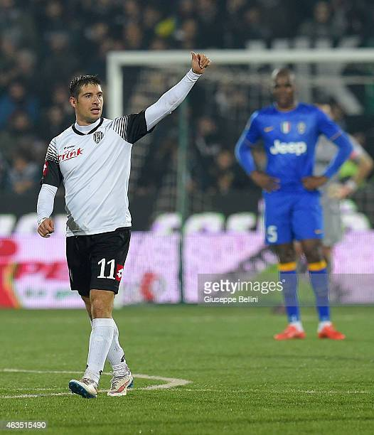 Franco Brienza of Cesenacelebrates after scoring the goal 22 during the Serie A match between AC Cesena and Juventus FC at Dino Manuzzi Stadium on...