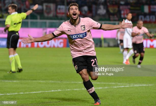 Franco Brienza of Palermo celebrates after scoring his team's second goal during the Serie A match between US Citta di Palermo and AC Milan at Stadio...