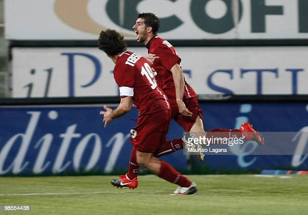 Franco Brienza of Reggina Calcio celebrates after scoring the opening goal of the Serie B match between Reggina Calcio and FC Crotone at Stadio...