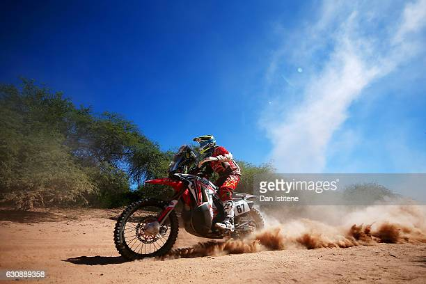Franco Caimi of Argentina and Honda South America Rally Team Asistencia rides a CRF450 Rally Honda bike during stage two of the 2017 Dakar Rally...