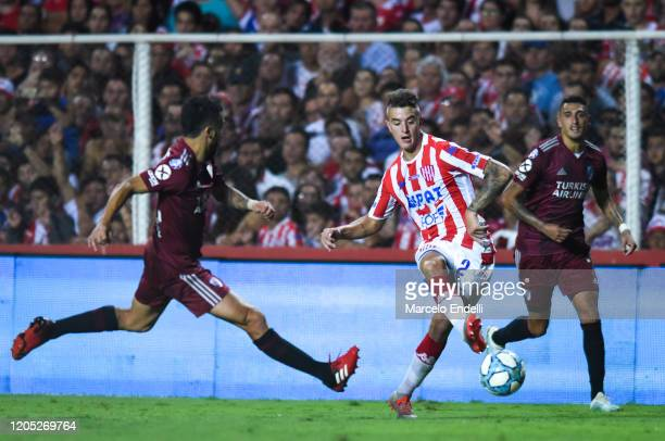 Franco Calderon of Union kicks the ball during a match between Union and River Plate as part of Superliga 2019/20 at 15 de Abril Stadium on February...