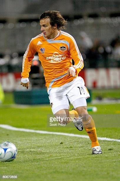 Franco Caraccio of the Houston Dynamo dribbles against the Kansas City Wizards during the game at Community America Ballpark on April 12 2008 in...