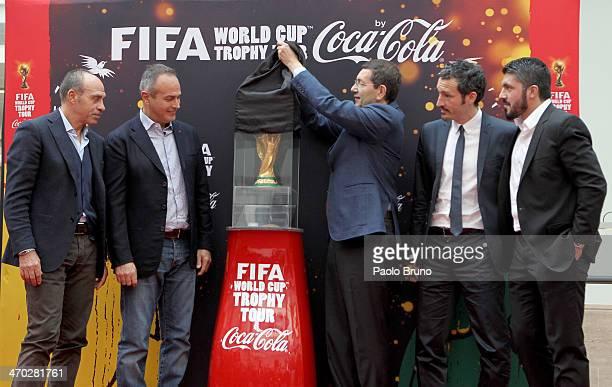 Franco Causio Antonio Cabrini Mayor of Rome Ignazio Marino Gianluca Zambrotta and Gennaro Gattuso unveil the FIFA World Cup trophy during day one of...