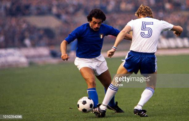 Franco Causio of Italy during the FIFA World Cup match between Italy and France at Estadio Parque Municipal Mar del Plata Argentina on 2nd June 1978