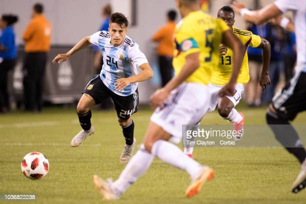Franco Cervi of Argentina in action during the Argentina Vs Colombia International Friendly football match at MetLife Stadium on September 11th 2018...