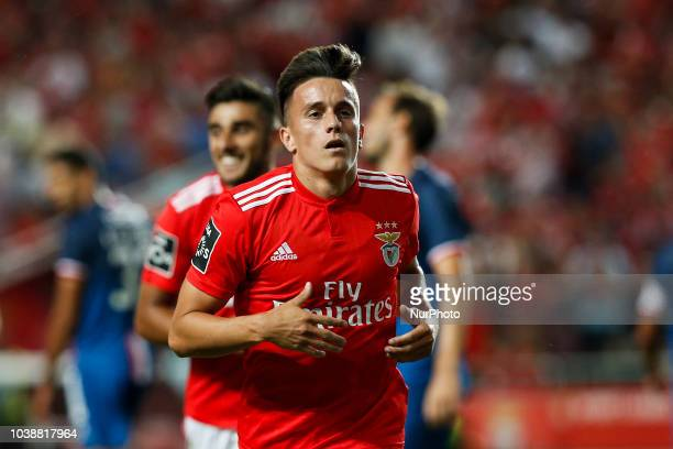 Franco Cervi of Benfica celebrates his goal during the Portuguese League football match between SL Benfica and CD Aves at Luz Stadium in Lisbon on...