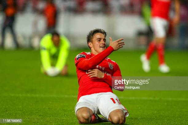 Franco Cervi of SL Benfica celebrates scoring SL Benfica fifht goal during the Liga NOS match between SL Benfica and CS Maritimo at Estadio da Luz on...